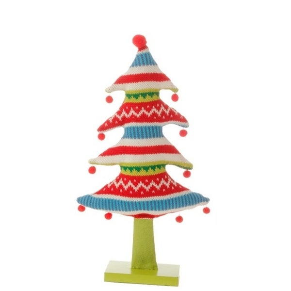 "15.5"" Merry & Bright Plush Knit Nordic Striped Christmas Tree Table Top Decoration"