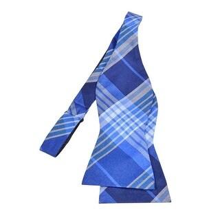 Tommy Hilfiger Men's Big Twill Plaid Bow Tie (OS, Blue) - Blue
