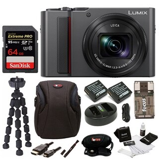 Panasonic LUMIX ZS200 4K Digital Camera (Silver) with 64GB Accessory Bundle