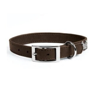 Rockinft Doggie 1 in. x 16 in. Leather Collar Plain - Brown
