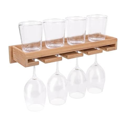 """Teak Wineglass Rack with Shelf - 17-1/2"""" W x 2-1/2"""" H x 5"""" D"""