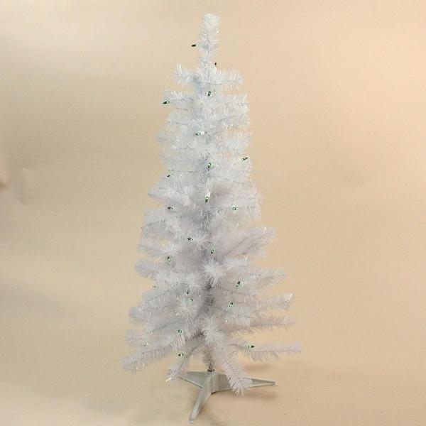 "3' x 16"" Pre-Lit Slim White Tinsel Artificial Christmas Tree - Green Lights"