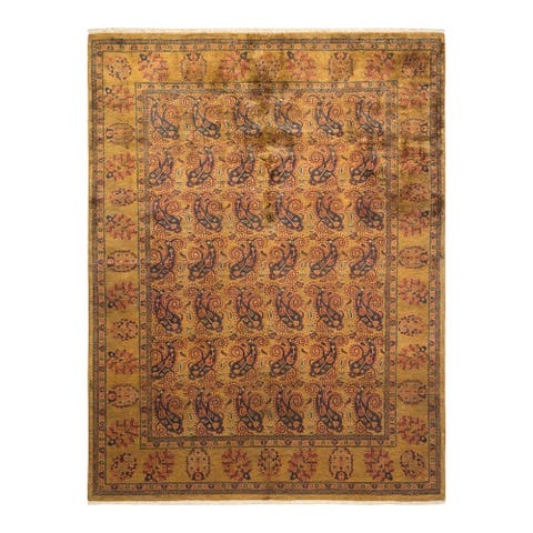 """Eclectic, One-of-a-Kind Hand-Knotted Area Rug - Yellow, 6' 1"""" x 7' 10"""" - 6' 1"""" x 7' 10"""""""