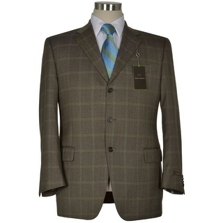 Joseph Abboud Signature Olive Silk and Wool Sportcoat 44 Regular Plaid Blazer