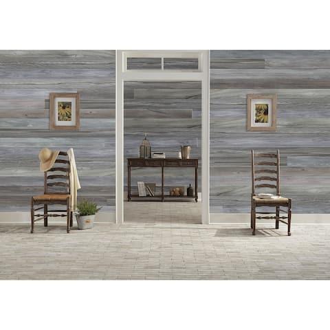 "HighlanderHome Peel & Stick Solid Wood Wall Panel,5"" x 48""/pc - 12pc"