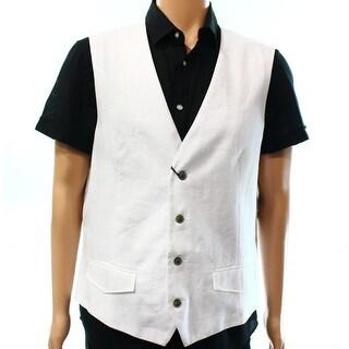 Tasso Elba NEW White Mens Size XL Linen Woven Textured Button-Front Vest