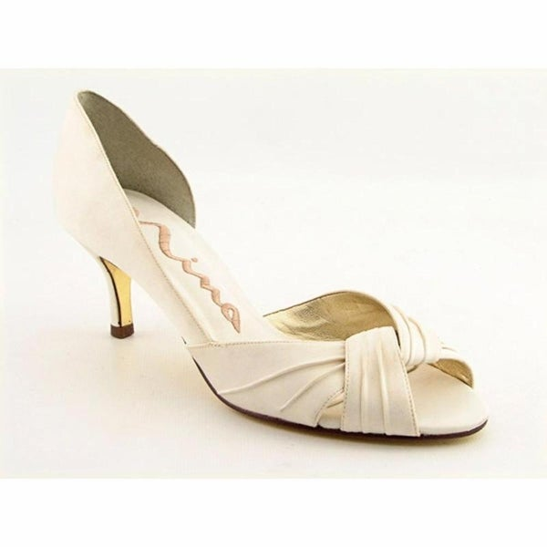 21433b7eed7 Shop Nina Culver Women Peep-Toe Canvas Ivory Heels - Free Shipping ...