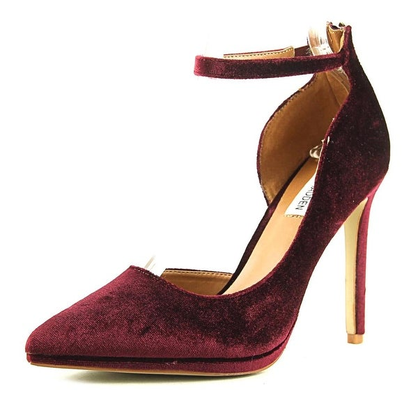 c48cb29e0cd Shop Steve Madden Hartly Women Pointed Toe Canvas Burgundy Heels ...