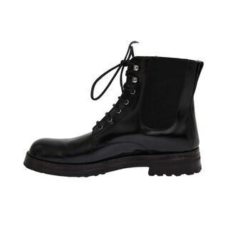 Dolce & Gabbana Dolce & Gabbana Black Leather Ankle Stretch Boots - eu44-us11