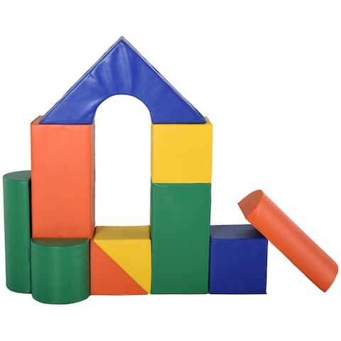 Soozier 11 Piece Soft Play Blocks Soft Foam Toy Building and Stacking Blocks Non-Toxic Compliant Learning Toys