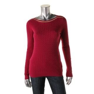 Tommy Hilfiger Womens Pima Cotton Boat-Neck Sweater