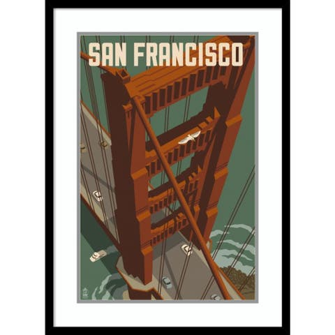 Framed Wall Art Print San Francisco - Golden Gate Bridge by Lantern Press 22.00 x 30.00-inch