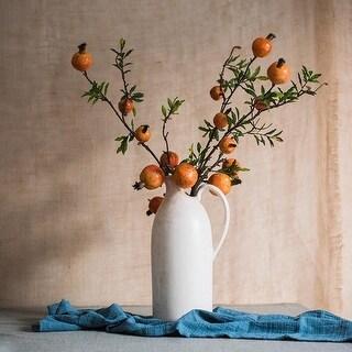 RusticReach Yellow Pomegranate in White Ceramic Vase Set