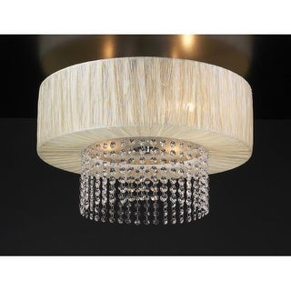PLC Lighting PLC 73025 Crystal 4 Light Down Lighting Flushmount Ceiling Fixture from the Pegasus Collection - Silver