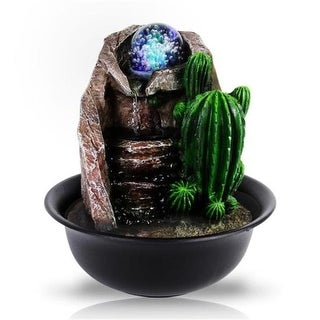 Tabletop Water Fountain Decoration with LED