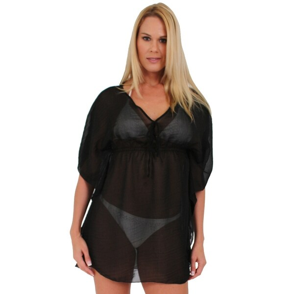 Women's Beach Dress Cover Up Short Sleeve Chiffon Ultralight Swimwear