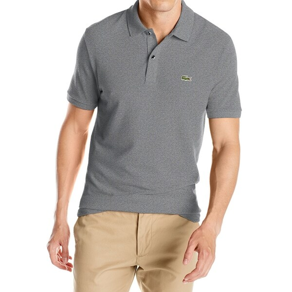 0feb5f33f6 Shop Lacoste NEW Gray Mens Size Medium M Slim-Fit Short-Sleeve Polo ...
