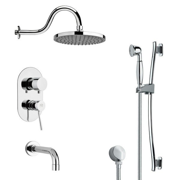 Nameeks TSR9066 Remer Shower Tub and Shower Trim Package with Single Function Rain Shower head and Hand Shower - Chrome