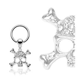 "Surgical Steel Captive Captive Bead Ring with Multi Clear Gem Skull Dangle - 16GA 3/8"" Long (Sold Ind.)"