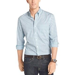 Izod Lightweight Poplin Casual Plaid Shirt Blue Radiance Small