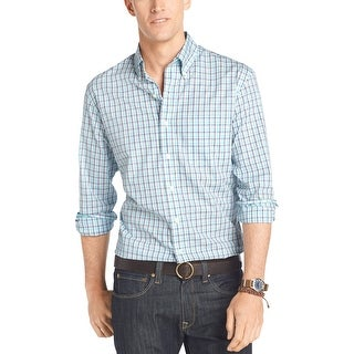 IZOD Lightweight Poplin Casual Plaid Shirt Blue Radiance & White Small S