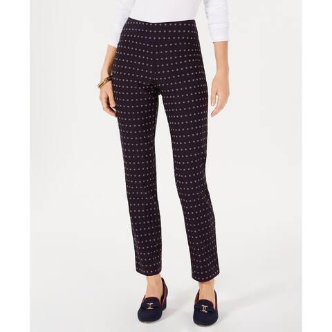 Charter Club Women's Cambridge Floral-Print Tummy-Control Pants Black Size 12