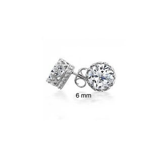 Bling Jewelry Unisex Crown CZ Stud earrings 925 Sterling Silver 6mm