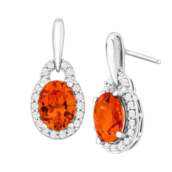 3 3/4 ct Created Padparadscha & White Sapphire Drop Earrings in Sterling Silver - Orange