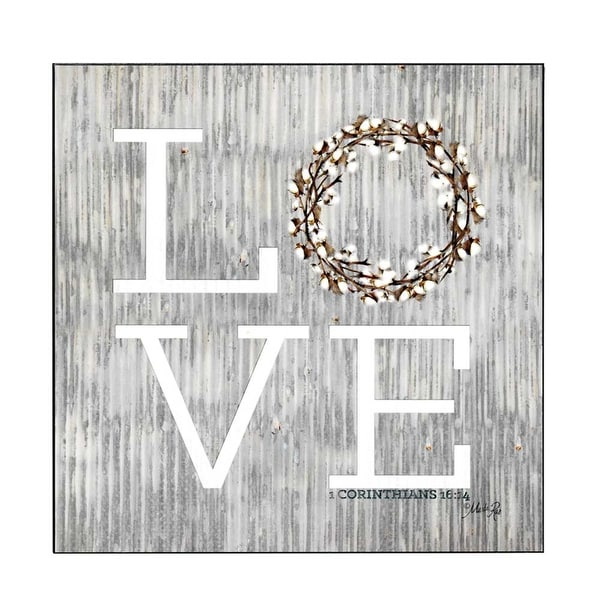 """12"""" Gray and White """"LOVE"""" Printed Square Wall Plaque - N/A"""