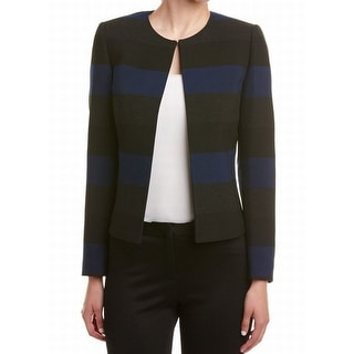 Tahari by ASL NEW Blue Gray Women's Size 16 Colorblock Striped Jacket