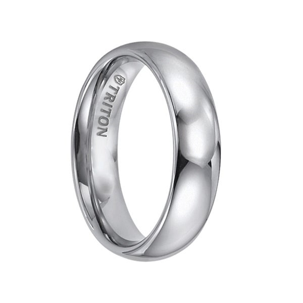 FELIX Domed Comfort Fit Tungsten Carbide Wedding Band with Polished Finish by Triton Rings - 6 mm