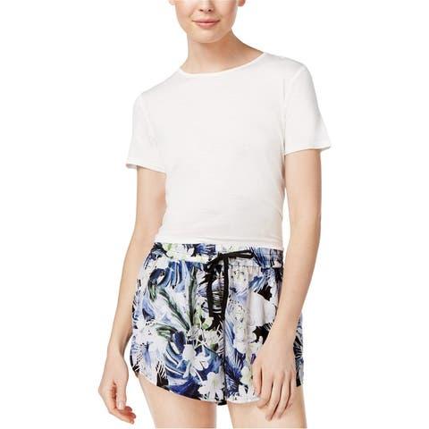 Kensie Womens Tie Detail Basic T-Shirt