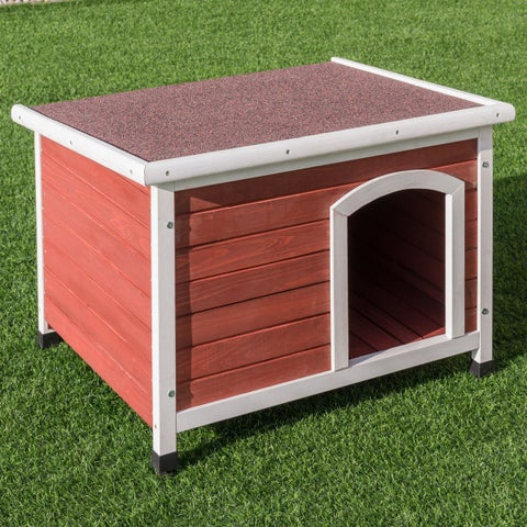 Gymax Wooden Pet House Dog Cat Puppy Room Bed Platform Bed Shelter Indoor Outdoor