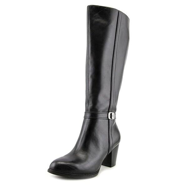 Giani Bernini Raiven Wide Calf Women Round Toe Leather Black Knee High Boot