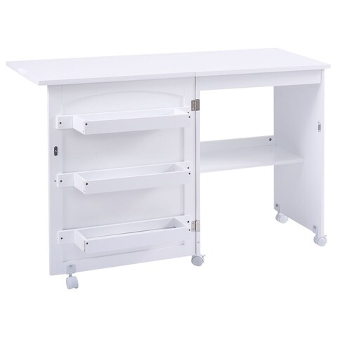 Gymax Swing Craft Table Shelves Storage Folding - White