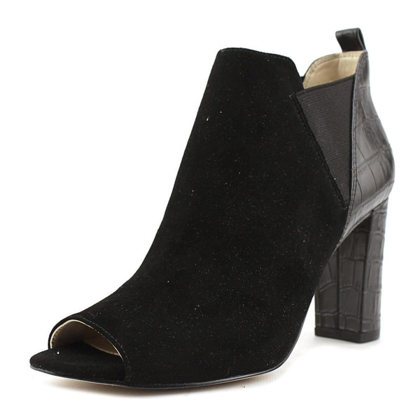 Marc Fisher Sayla Women Peep-Toe Suede Black Bootie
