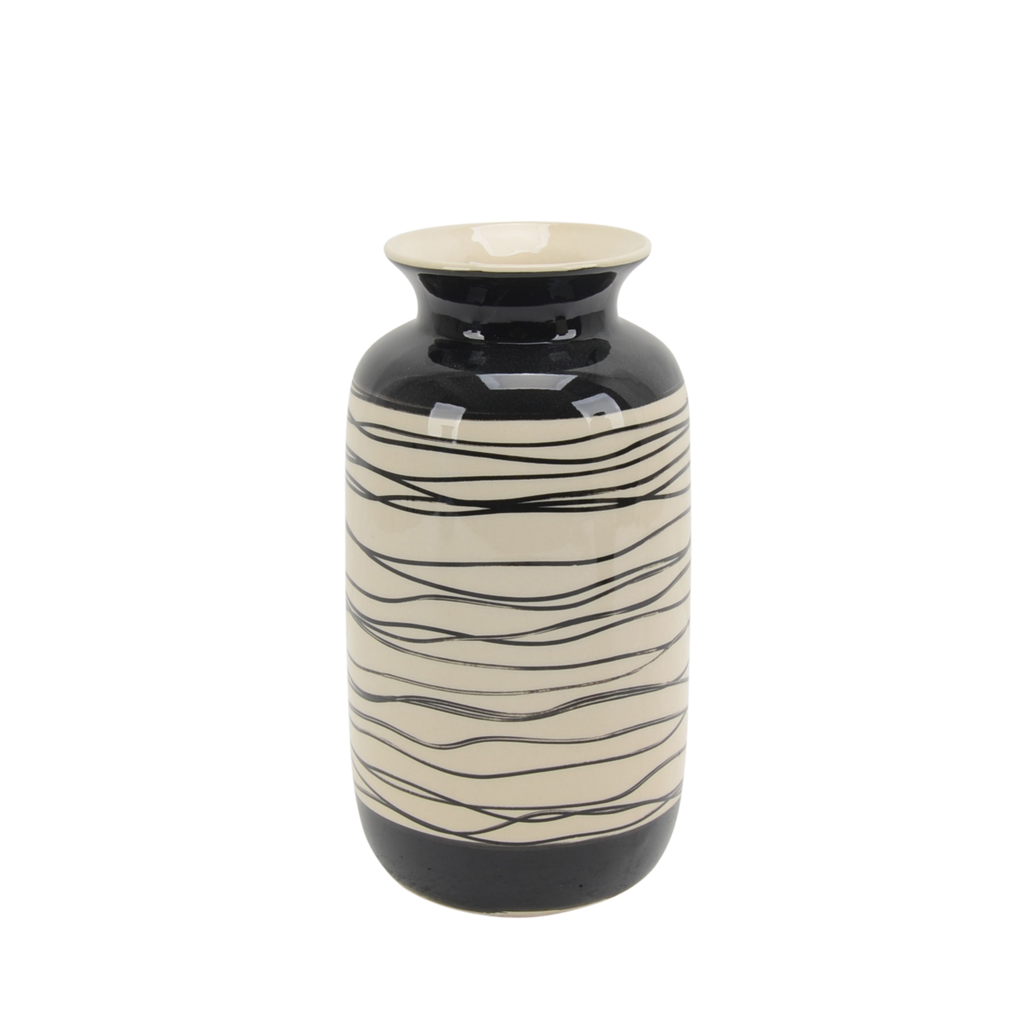 Ceramic Vase with Irregular Circular Pattern and Flared Top, Black and White