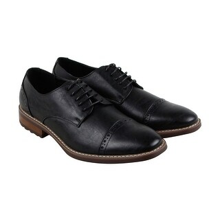 Steve Madden M-Atkin Mens Black Leather Casual Dress Lace Up Oxfords Shoes