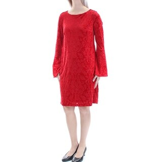 ECI Womens New 1289 Red Floral Velvet Jewel Neck Long Sleeve Dress S B+B