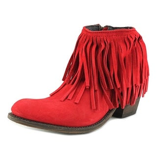 Independent Boot Company Margo Fringe Bootie Women Leather Red Bootie