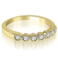 0.21 cttw. 14K Yellow Gold Antique Milgrain Bezel Round Cut Diamond Wedding Ring HI, Si1-2