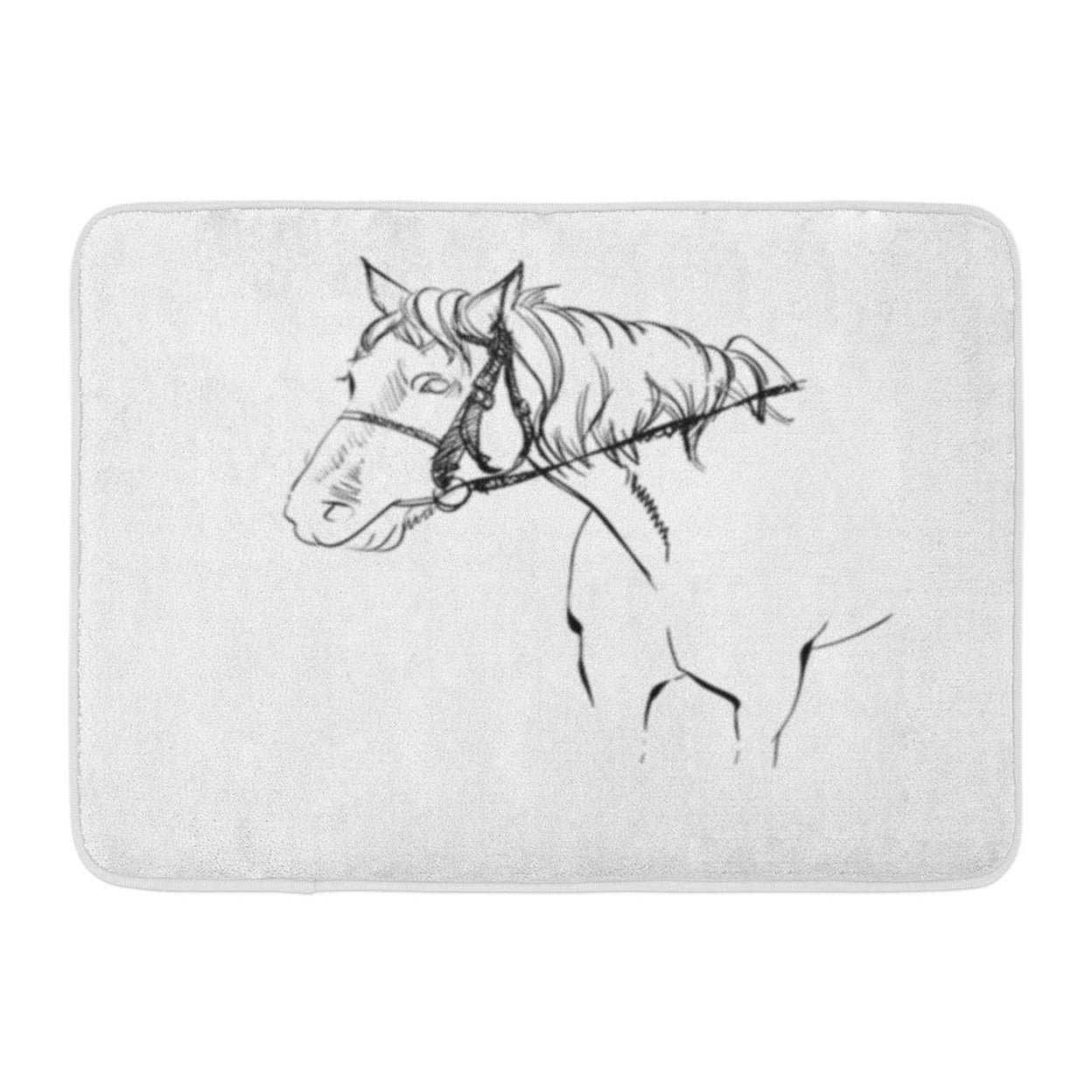Adorable Horse Harness Sketched Cute Equine Freehand Doormat Floor Rug Bath Mat 23 6x15 7 Inch Multi On Sale Overstock 31777657