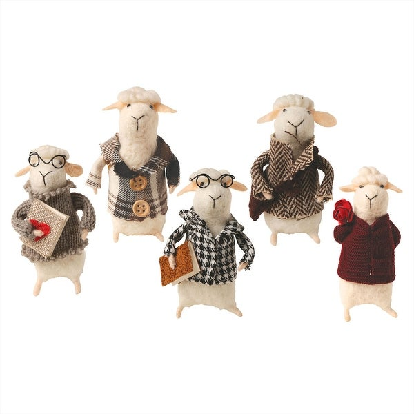 Catalog Classics Felted Wool Sheep in Clothes Decorative Figurines - Set of 5 Cute Lamb Ornaments - 5 in. x 7 in. x 4 in.