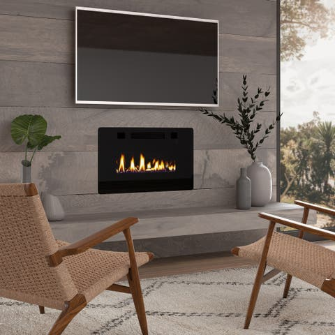 """30"""" Ultra Thin Electric Fireplace Insert, Wall Mounted/In Wall Easy Installation with remote control, 750W/1500W"""