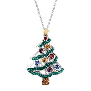 Crystaluxe Christmas Tree Pendant with Swarovski Crystals in 18K Gold-Plated Sterling Silver - Green