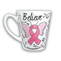 Pink Ribbon Coffee Mug - Butterfly Design for Breast Cancer