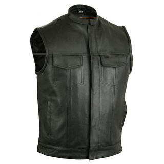 Concealed Snap Closure Milled Cowhide Scoop Collar Vest