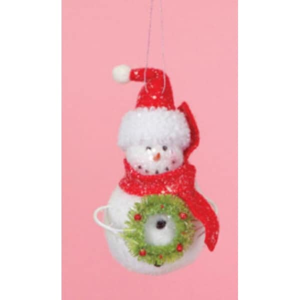 """7"""" Cupcake Heaven Snowman with Wreath and Red Scarf Christmas Ornament - WHITE"""