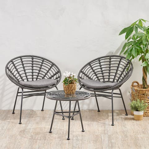 Pigment Outdoor Modern Boho 2 Seater Wicker Chat Set with Side Table by Christopher Knight Home