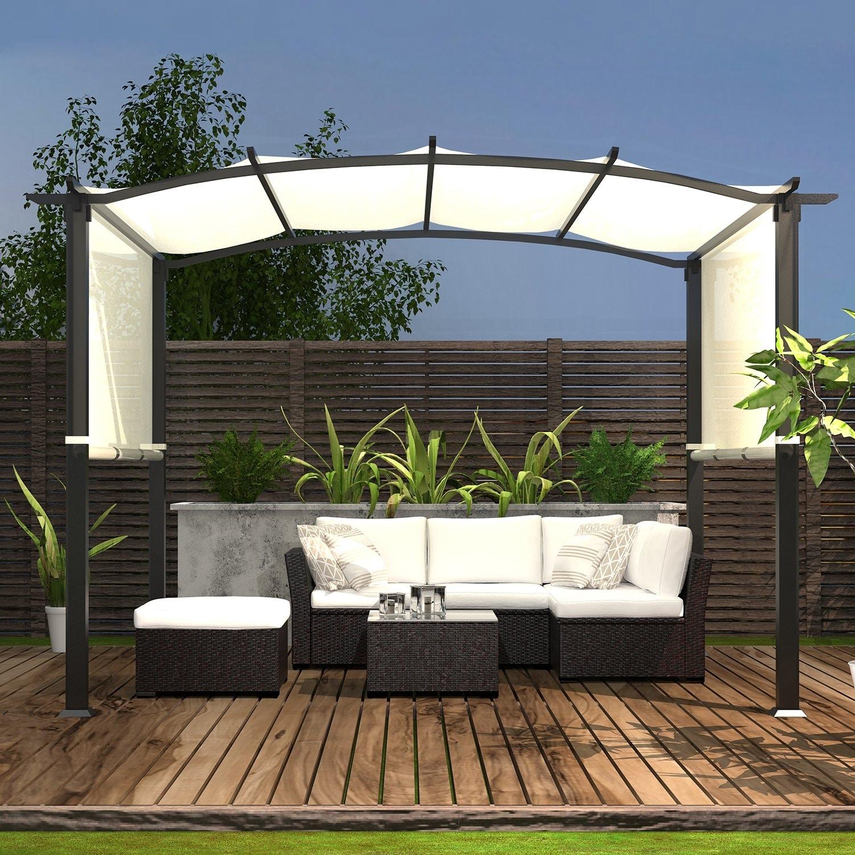 Pergola Gazebo Canopy Sun Shelter With Retractable Shades Overstock 31721362